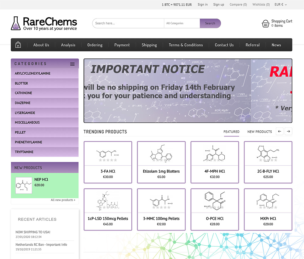Screenshot of RareChems.com from February 2020