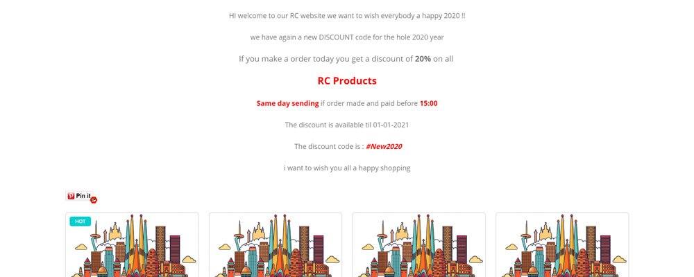 Screenshot of spaincitysales.net webshop in 2020