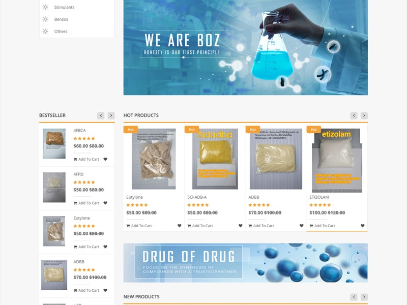 Screenshot of chem-vendor.com web shop in May 2020