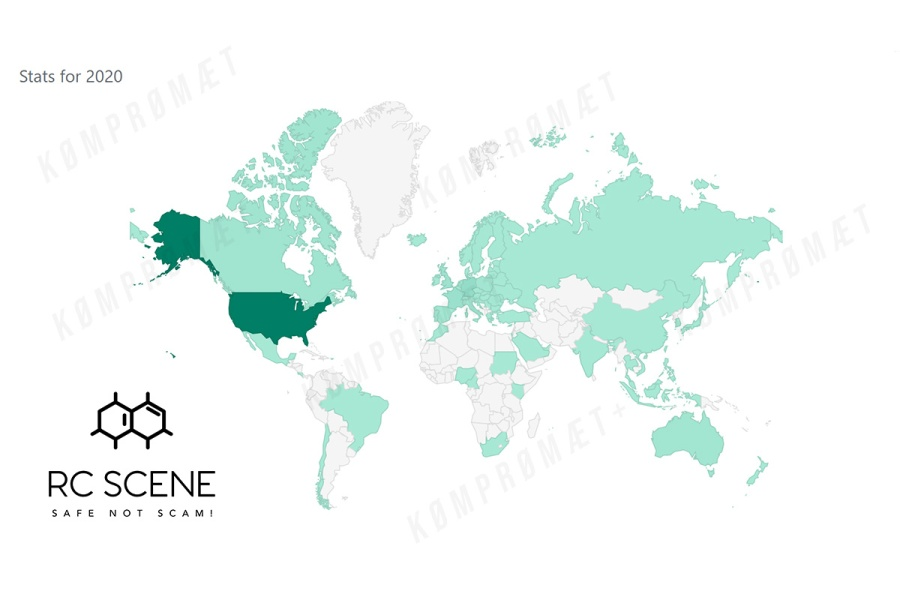 A world map showing where RC-SCENE.com visitors are at home