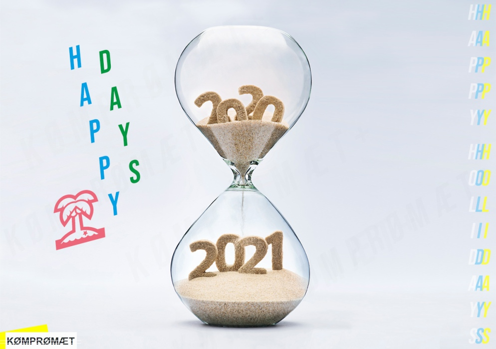 Happy Holidays, a greeting card for December. An hourglass, filled with sand. In the upper half, there is 2020. In the bottom half, there is 2021. The sand saying 2020 is already running into 2021.