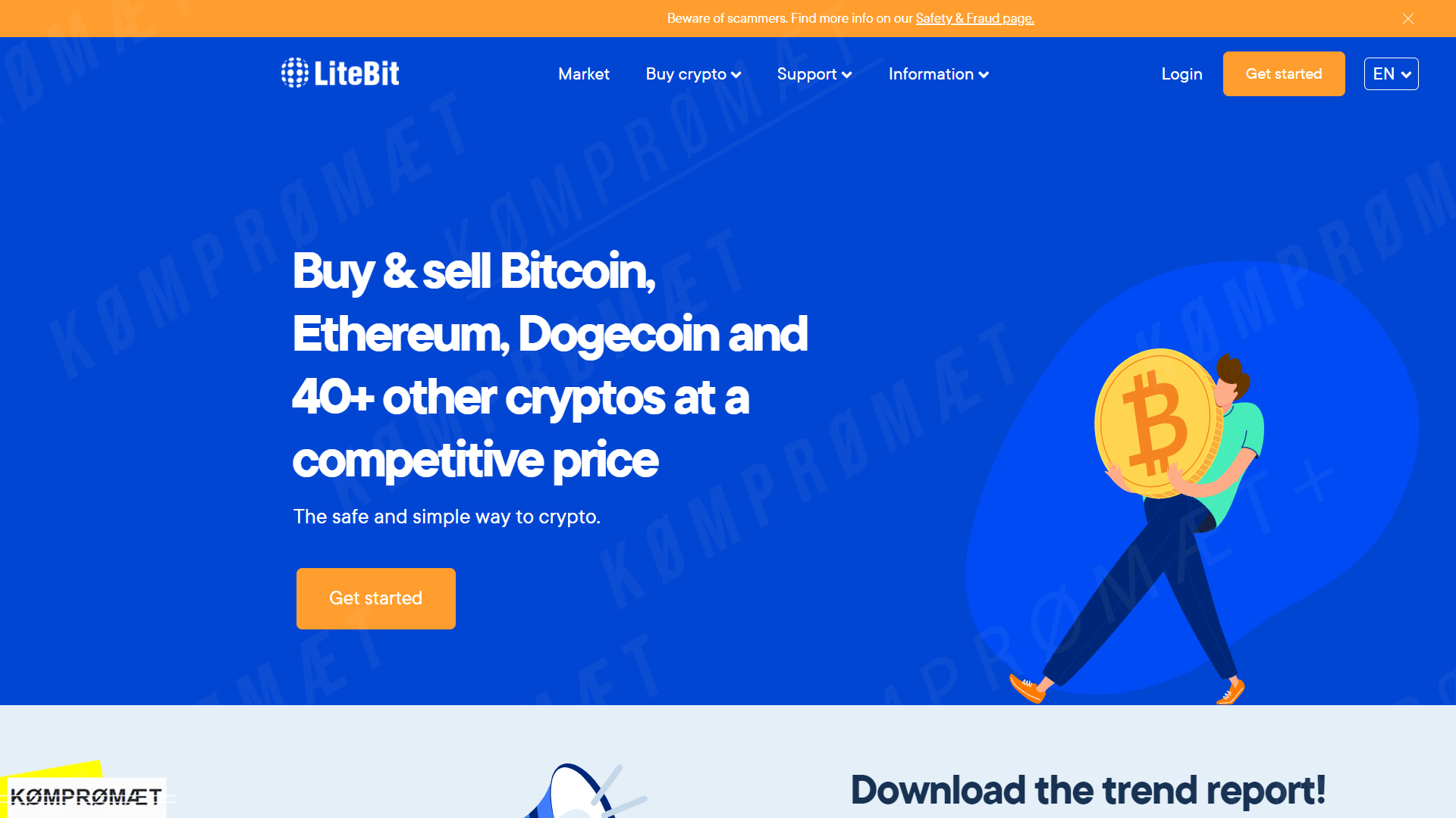Screenshot of litebit.eu, a Dutch crypto exchange