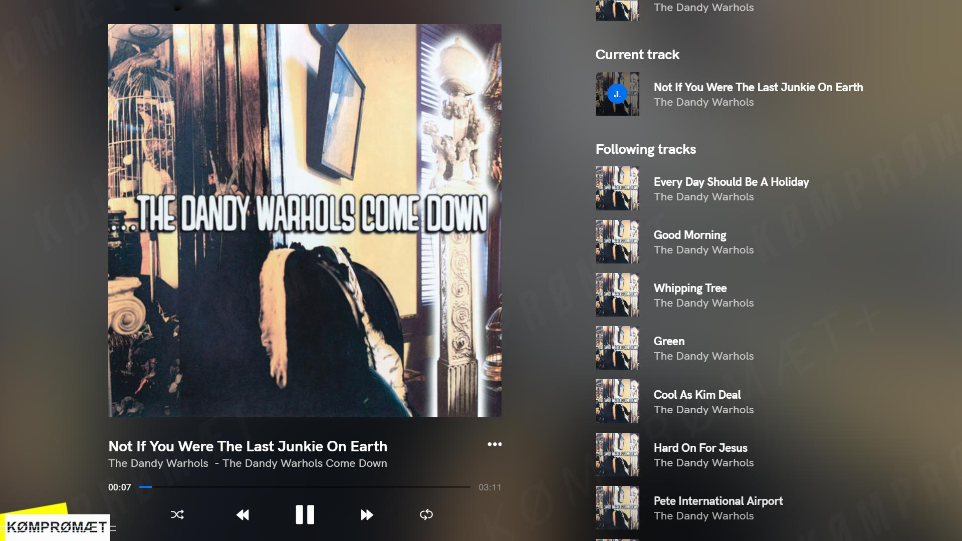 The Dandy Warhols - Not If You Were The Last Junkie On Earth (Qobuz screenshot)