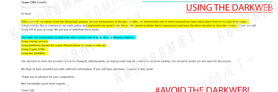 Screenshot of an email sent from LiteBit.eu Bitcoin Exchange. After placing three orders with The Real RC (TRC) webshop, they announced closing our account due to allegedly criminal high-risk transactions.
