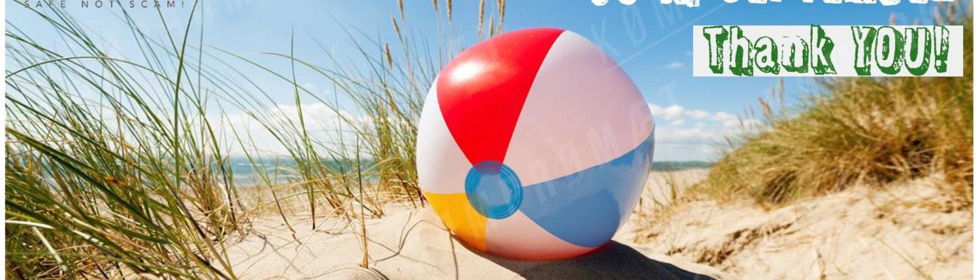 RC-SCENE.COM : Enjoy the sun summer card. A plastic ball on a beach.