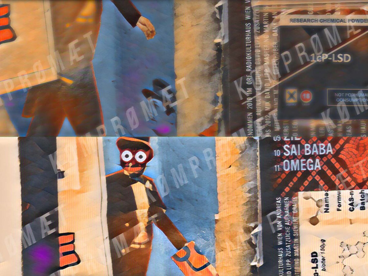 taser image for a shop review about The Real RC (Netherlands). A slightly distorted montage showing the Lysergamides 1P-LSD & 1cP-LSD in the form of blotters (a tiny piece of cardboard with liquid on it) on a colorful CD cover